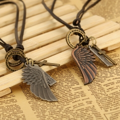 Fashion Leather Necklace  Angel Wings Pendant silver onesize