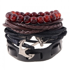 Simple Retro Woven Leather Bracelet Multi-Layer Nautical Bracelet colorful one size