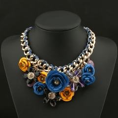 Fashion Hand-Woven Flower Necklace Flower color Pendant blue+yellows onesize