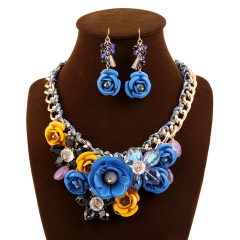 Weave Flower Crystal Exaggerated Necklace Female Collarbone Chain Earrings Necklace Two Pieces blue+yellows onesize