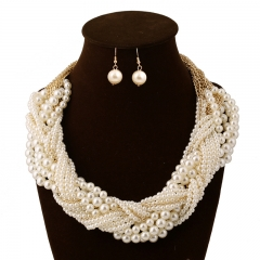 Multi - Layered Pearl Necklace Earrings Earrings Jewelry Pearl white onesize