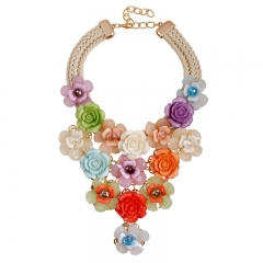 Yakeli Flower Cotton Cord Woven Short Accessories Necklace Collarbone Chain Accessories Necklace colorful1 onesize