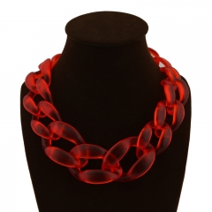 Popular Exaggerated Acrylic Colored Woven Necklace Accessories red onesize