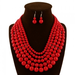 Two pieces of fashion bridal accessories for earrings and necklace earrings red onesize