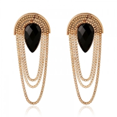 Stylish New Earrings Exaggerated Gold-Plated Tassel Earrings black one size