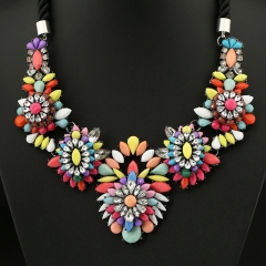 Colorful Cotton String Woven Exaggerated Necklace Fashion Accessories colorful onesize