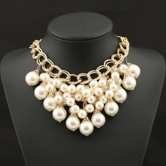 Fashion Pearl Exaggerated Tassel Necklace pearl white onesize