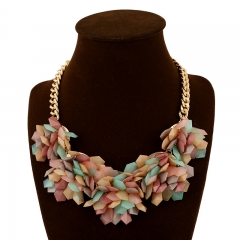 pop seven color necklace exaggerated color crystal gem flower necklace colorful one size