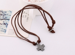 Men's Retro Style Alloy Cross Necklace Leather Necklace colorful onesize