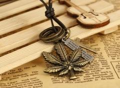 Vintage Kraft Necklaces  Maple Leaf  Design Genuine Leather Necklace bronze one size