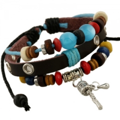 Personality fashion Alloy pendant  Leather bracelet Beaded bracelet colorful one size
