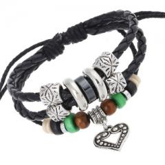 Personality fashion Alloy peach heart pendant  Leather bracelet Beaded bracelet colorful one size