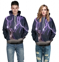 Lightning cat Design 3D Digital Printed Hooded fleece  Baseball Jacket Fashion  for Women and Men colorful s/m