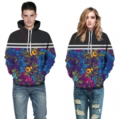 Flowers Design 3D Digital Printed Hooded fleece  Jacket Fashion  for Women and Men hoodie colorful s/m