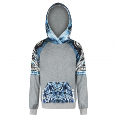 The Blue fox pattern digital print Design 3D Digital Printed Hooded fleece Fashion for Women and Men colorful s/m