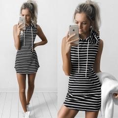 Sleeveless rope hooded skirt waist pocket dress black XS
