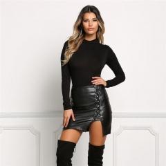 Black bandage not cracked PU leather skirt high waist skirt black s