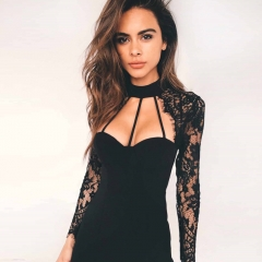 Bud silk v-neck body-hugging dress Sexy nightclubs Flowers hollow out black s