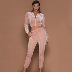 Pure color sports casual suit women's autumn and winter warm diamond velvet two-piece set pink s
