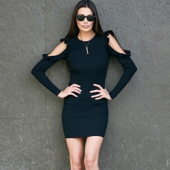 Autumn and winter women's dress with pure color dress and shoulder knitted wool dresses black m