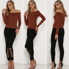Autumn/winter long-sleeved tunic Ms T-shirt Warm pure color brown S
