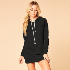 Autumn/winter new pure cotton wool suit hooded dress Sexy dress black s