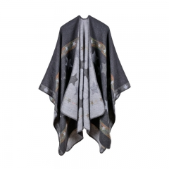 Star color stripe imitation cashmere shawl super long and thickened multi-purpose shawl gray