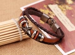 Leather bracelet beads alloy design personality style alloy pattern knitting bracelet light brown one size