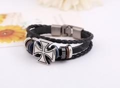 Leather bracelet beads alloy design personality style cross alloy pattern knitting bracelet colorful one size