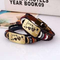 Leather bracelet beads alloy design personality style alloy pattern knitting bracelet valentines colorful one size