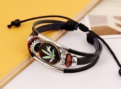 Hand-made beaded real leather bracelet vintage bracelet time lapidary bracelet colorful one size