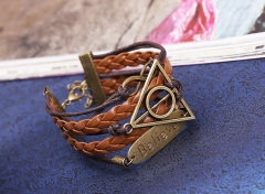 Leather bracelet beads alloy design personality style alloy pattern knitting bracelet colorful one size