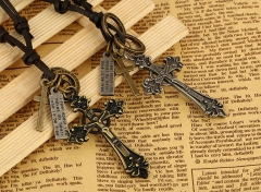 Fashion Alloy cross leather necklace leather necklace silver onesize