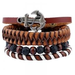 Vintage knitting leather bracelet Volcanic rock beads Suit bracelet colorful one size