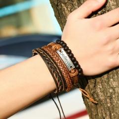 Leather bracelet beads alloy design personality style alloy pattern knitting bracelet Suit bracelet colorful one size