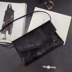 New Large-Capacity Crocodile Hand Bag Single Shoulder Bag Bag Girl Bag black one-size
