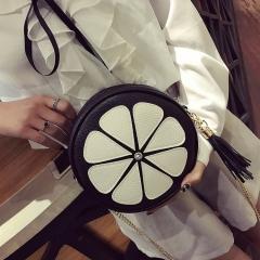 Women's Bag New Uni-Shoulder Female Slanted Shoulder Bag Lovely Petal Wrap Chain Mini Bag black one-size