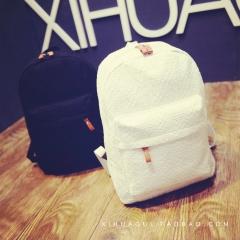 Lace Double Shoulder Bag Canvas Bag Student's Backpack black one-size