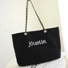 New canvas bag single shoulder bag chain package black one-size