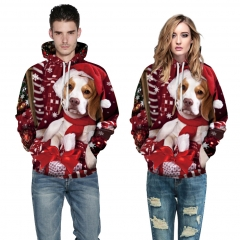 Christmas Dog Design 3D Digital Printed Hooded fleece Jacket Fashion for Women and Men hoodie colorful s/m