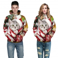 Christmas Cat Design 3D Digital Printed Hooded fleece Jacket Fashion for Women and Men hoodie colorful s/m