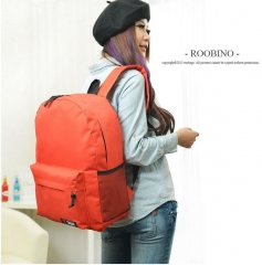 Fashion casual men and women backpack Pure color double shoulder bag red one-size