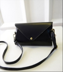 New Oblique cross package Fashionable button girl bag PU bale shoulder bag black one-size
