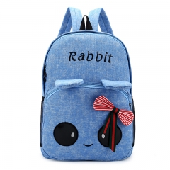 The new big eye ear canvas double shoulder bag girl backpack student bag blue one-size