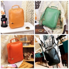 Fashion Retro Handbag Solid Color Backpack Shoulder Bag Handbag Women Bags red one-size