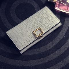 Short Paragraph PU Fashion Simple Women's Hand Lock Wallet Light gray onesize