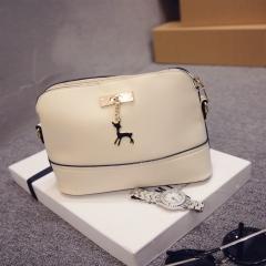 Fashion Leisure Woman Bag Deer Pattern Simple PU Shoulder Bag Five Colors white one-size