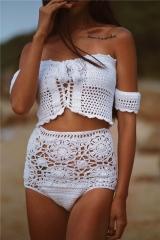 New Bikini Sexy Wwimsuit Beach High Waist Hollowed Split Swimsuit white s
