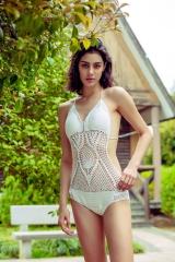 Summer New Swimwear Beach Hand-made Knitted Hollowed Swimsuit white onesize