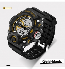 Men's Sports Electronic Watch Waterproof Multi-Function Wrist Watch blk-gold onesize